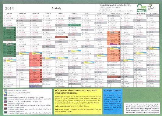 Hulladékszállítási naptár 2014